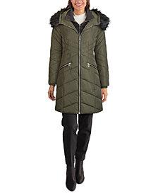 GUESS Faux-Fur Trim Hooded Puffer Coat