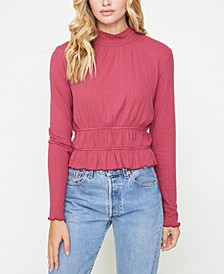 Mock-Neck Gathered Top