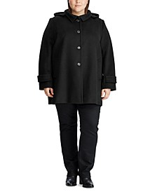 Plus-Size Wool-Blend Hooded Coat, Created for Macy's