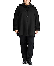 Lauren Ralph Lauren Plus-Size Wool-Blend Hooded Coat, Created for Macy's