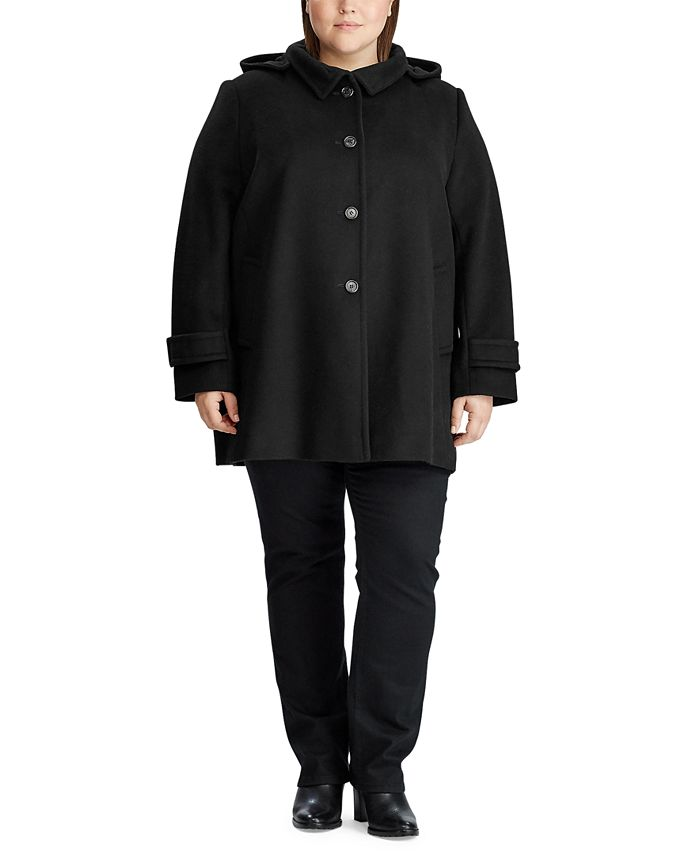 Lauren Ralph Lauren - Plus-Size Wool-Blend Hooded Coat