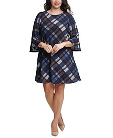 Plus Size Plaid Bell-Sleeve Dress
