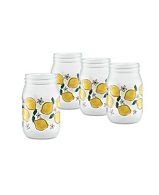 Watercolor Lemons Jar Glass, Set of 4
