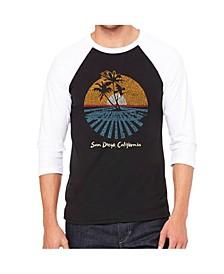 Cities in San Diego Men's Raglan Word Art T-shirt