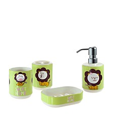 Kid's Lion 4 Piece Bathroom Accessory Set with Gift Box