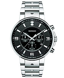 Movado Men's Swiss Chronograph S.E. Pilot Stainless Steel Bracelet Watch 42mm 0606759