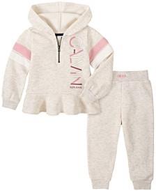 Baby Girls Zip Front Hooded Fleece Jacket Pant Set