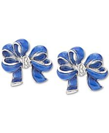 Silver-Tone Pavé Blue Bow Stud Earrings, Created for Macy's