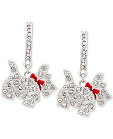 Silver-Tone Crystal Scotty Dog Drop Earrings, Created for Macy's