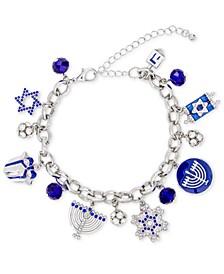 Silver-Tone Pavé & Bead Hanukkah Charm Bracelet, Created for Macy's