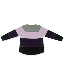 Plus Size Thea Colorblocked Cotton Sweater, Created for Macy's