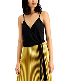Bar III Woven-Knit Wrap Cropped Camisole, Created for Macy's