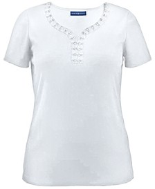 Studded Y-Neck Cotton Top, Created for Macy's