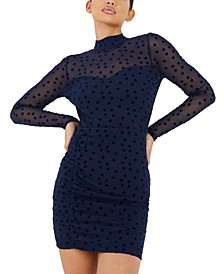 Illusion-Sleeve Dot Bodycon Dress
