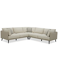 Marleese 3-Pc. Fabric and Leather Sectional, Created for Macy's