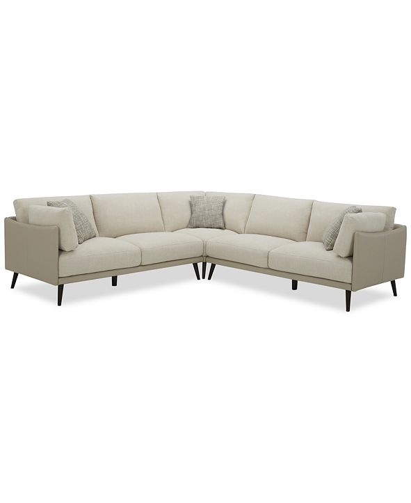 Furniture Marleese 3-Pc. Fabric and Leather Sectional, Created for Macy's