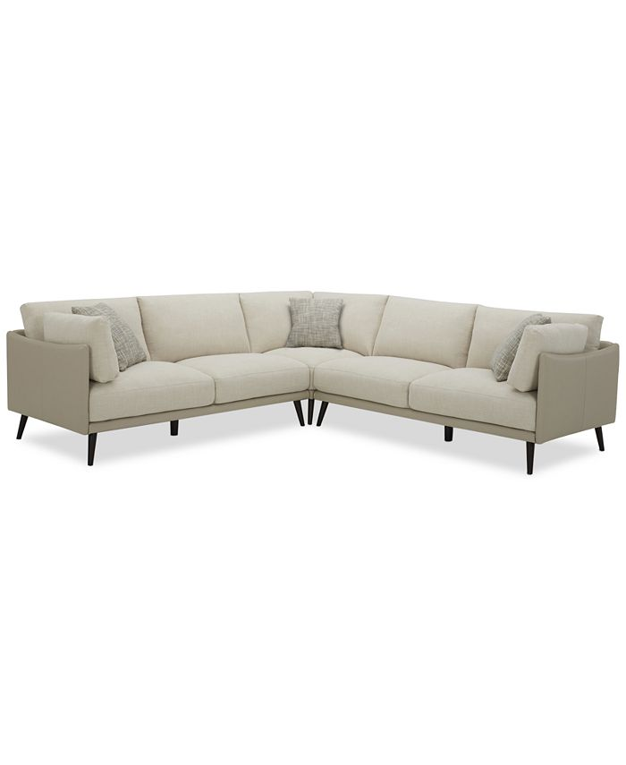 Furniture - Marleese 3-Pc. Fabric and Leather Sectional