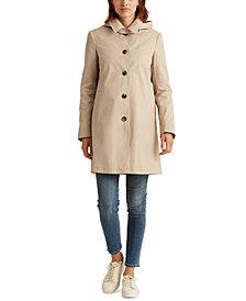 Lauren Ralph Lauren Hooded Single-Breasted A-Line Raincoat, Created for Macy's