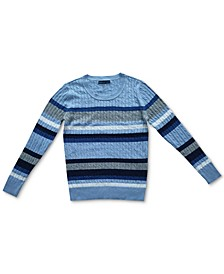 Nikki Striped Cable-Knit Cotton Sweater, Created for Macy's