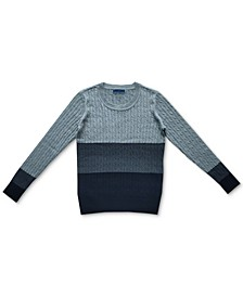 Cable-Knit Colorblocked Cotton Sweater, Created for Macy's