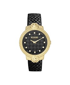 Women's Mouffetard Black Leather Strap Watch 38mm