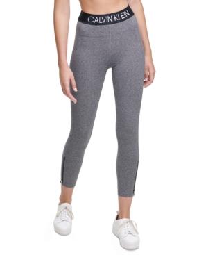 Calvin Klein Performance Logo High-waist Leggings In Black Heather