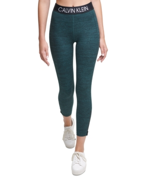 Calvin Klein Performance Logo High-waist Leggings In Juniper