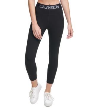 Calvin Klein Performance Logo High-waist Leggings In Black
