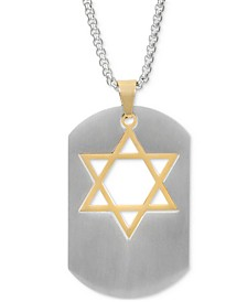 """INC Men's Two-Tone Star of David Dog Tag 23-3/4"""" Pendant Necklace, Created for Macy's"""