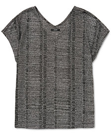 Alfani Metallic Short-Sleeve Top, Created for Macy's