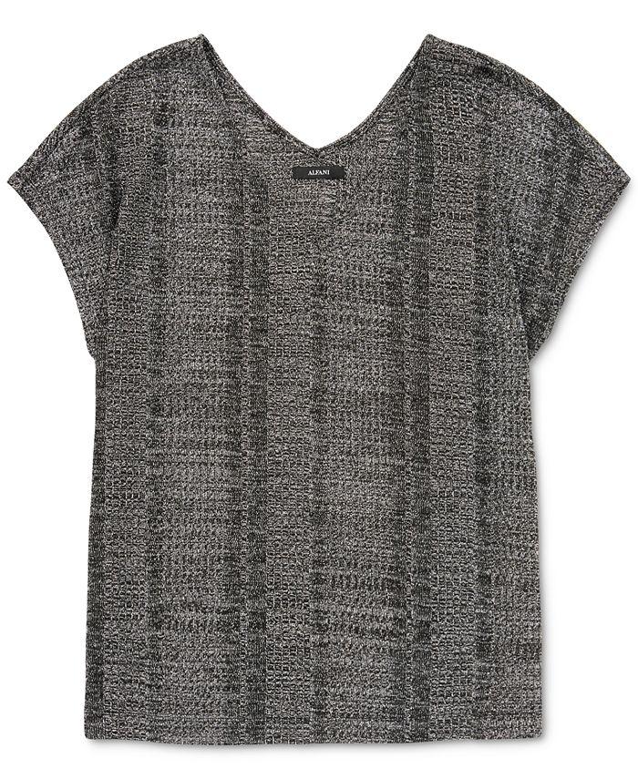 Alfani - Metallic Short-Sleeve Top
