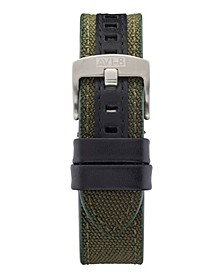 Men's Green Genuine Leather and Cordura Strap Army-Inspired, 22mm