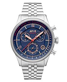 Men's Flyboy Silver-Tone Solid Stainless Steel Bracelet Watch, 42mm