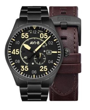Men's Spitfire Black-Tone Solid Stainless Steel Bracelet and Dark Brown Genuine Leather Strap Watch