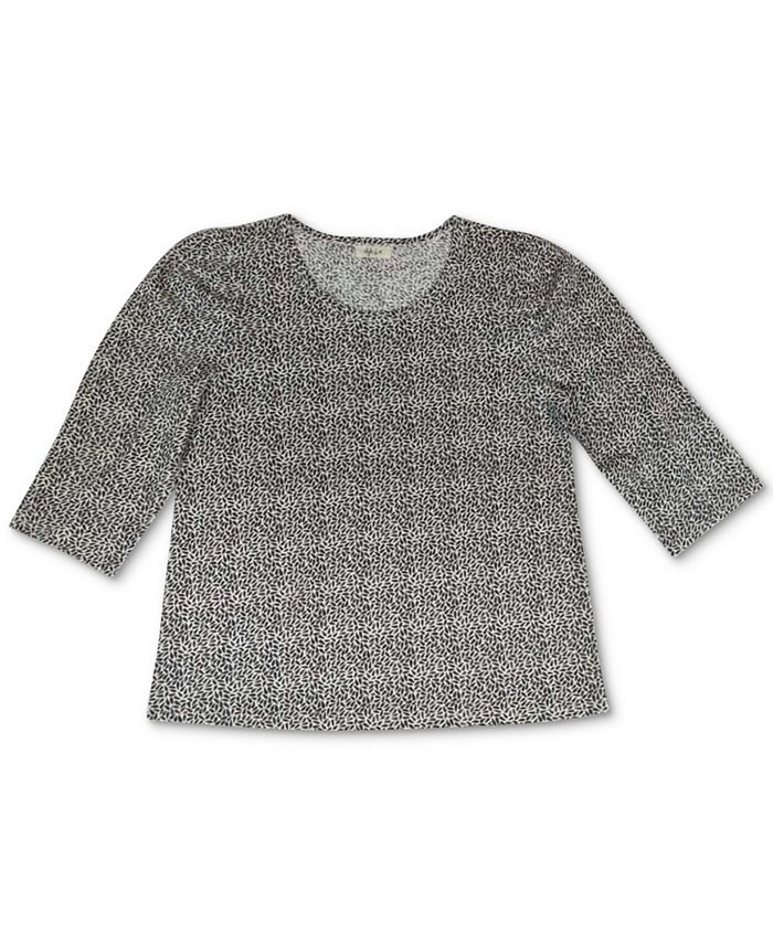Style & Co - Printed Cotton Puff-Sleeve Top