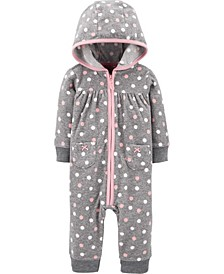 Baby Girl  Polka Dot Fleece Jumpsuit