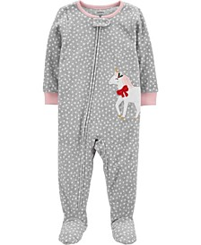Baby Girl  1-Piece Unicorn Fleece Footie PJs