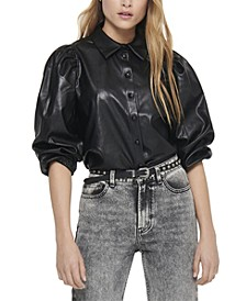 Puff-Sleeve Faux-Leather Blouse
