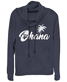 Women's Disney Stitch Silhouette Ohana Fleece Cowl Neck Sweatshirt