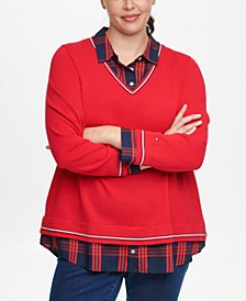 Plus Size Layered-Look Plaid-Collared Sweater