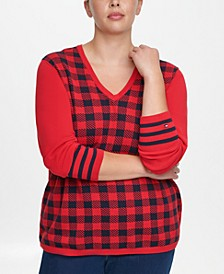 Plus Size Ivy Cotton Buffalo-Plaid Sweater