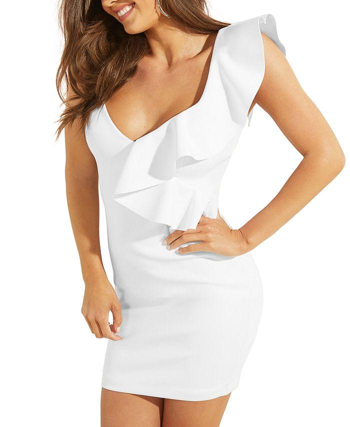 GUESS - Daniela Ruffled V-Neck Mini Dress