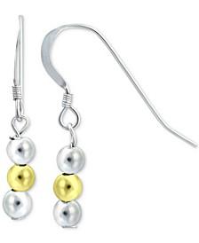 Triple Bead Drop Earrings in Sterling Silver & 18k Gold-Plate, Created for Macy's
