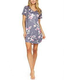 Floral by Floral Nikrooz Patricia Lace-Trim Floral-Print Sleep T-Shirt