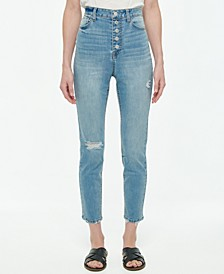 Juniors' Exposed Button-Fly High Rise Skinny Jeans