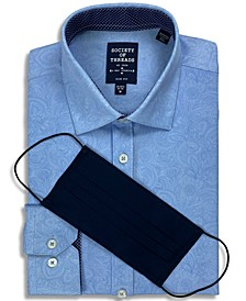 Receive a FREE Face Mask with purchase of the Society of Threads Men's Slim-Fit Non-Iron Performance Stretch Paisley Dress Shirt