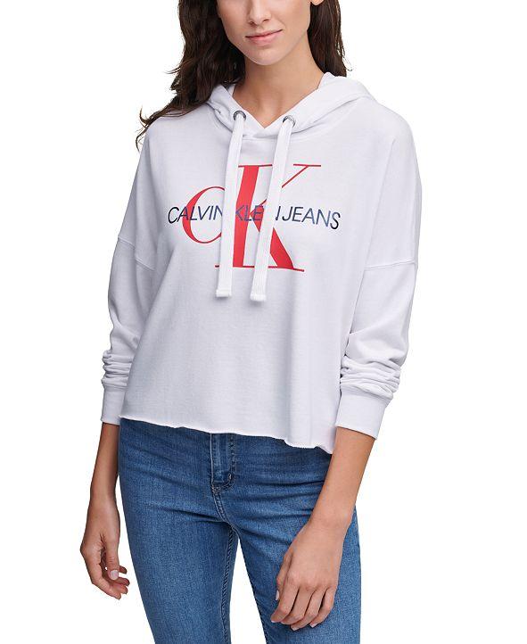 Calvin Klein Jeans Logo Hooded Cropped Sweatshirt