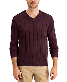 Men's Drop-Needle V-Neck Cotton Sweater, Created for Macy's