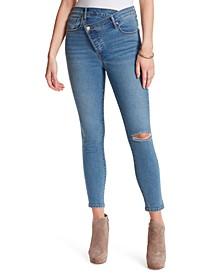 Asymmetric-Waist Tapered Skinny Jeans