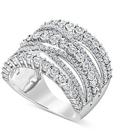 Diamond Multi-Row Crossover Statement Ring (1 ct. t.w.) in Sterling Silver or 14k Gold Over Sterling Silver